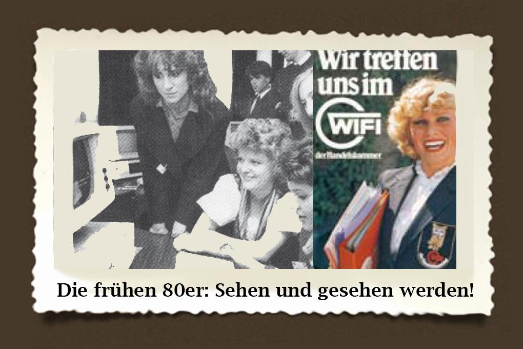 Gar nicht so einfach: Im Computer-Einsteiger-Kurs durch die Föhnfrisuren blicken! Generationen von Office-Profis haben sich Ihr Know-how im WIFI angeeignet. Dazu passend: Eine Werbung aus dem Jahr 1981.
